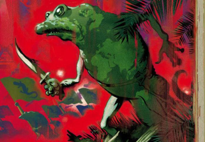 Contra la humanidad, con motivo de las salamandras. Detalle portada La guerra de las Salamandras.