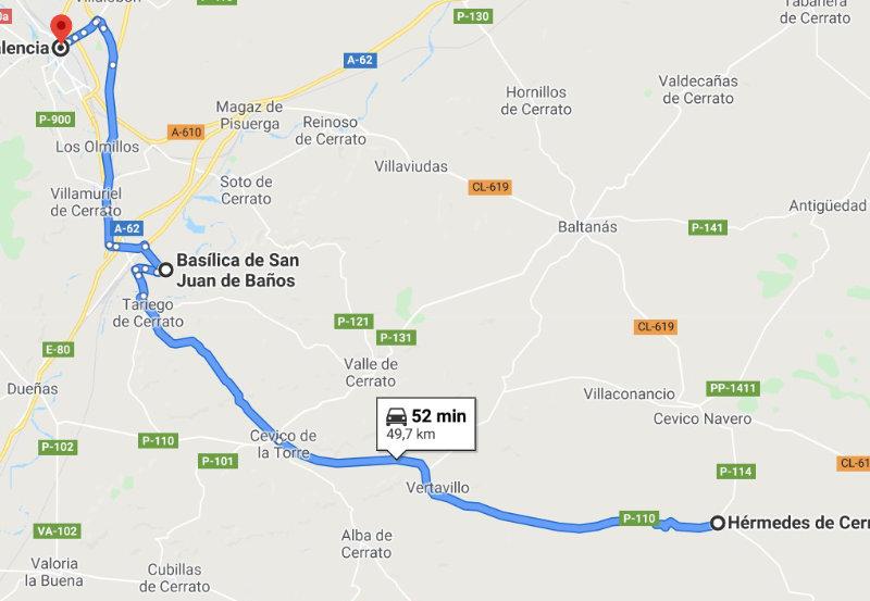 Mapa recorrido Rito Mozárabe Palencia