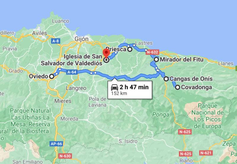 Mapa Prerrománico Asturiano, Cavadonga centro espiritual de Asturias