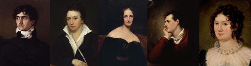 Polidori, Percy Shelley, Mary Shelley, Lord Byron y Clare Clairmont, los jóvenes de Villa Diodati