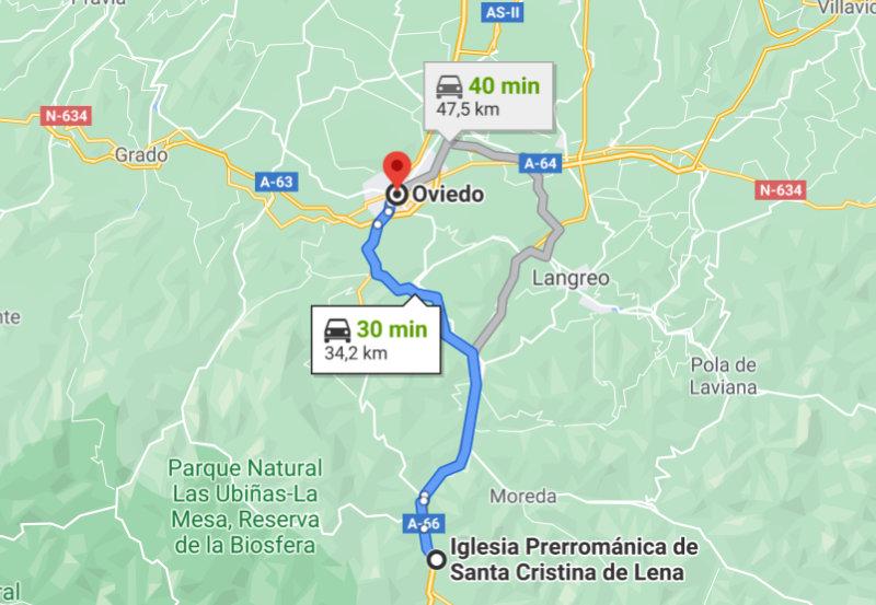 Mapa Google Maps Ruta Prerrománico Asturiano