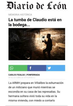 La tumba de Claudio esta en la bodega Diario de León.