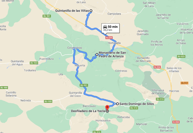 Mapa de la Ruta de los Monasterios de la provincia de Burgos