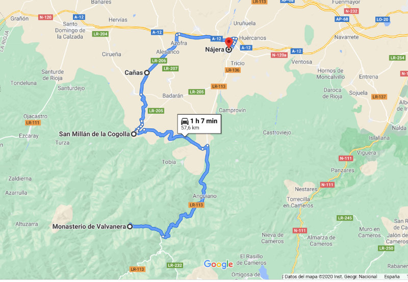 Mapa de la ruta de los monasterios en La Rioja Google Maps