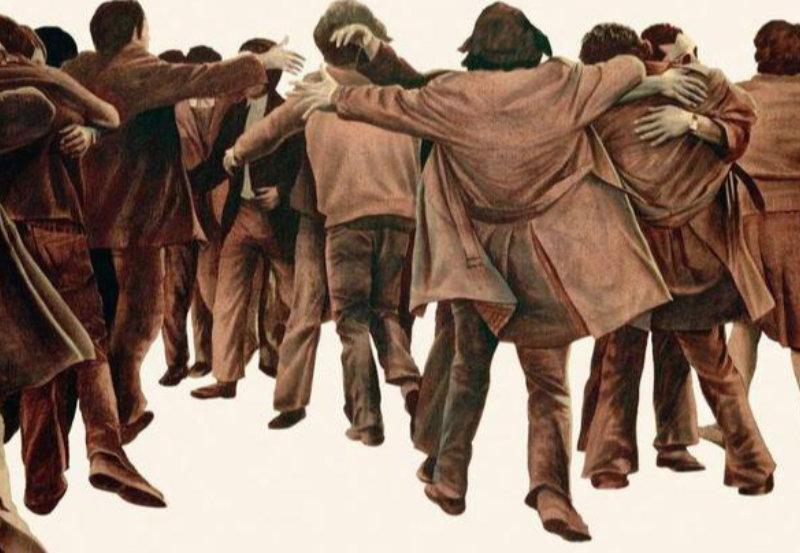 Segmento de la obra de Juan Genovés «El abrazo»