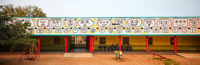 mural Bagundi realizado en Bathalapalli, India.