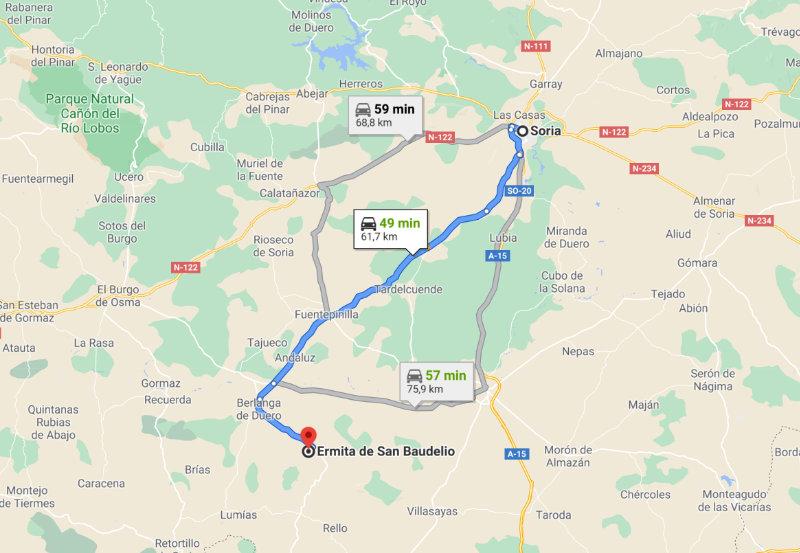 Mapa de Ruta desde Soria hasta la Ermita de San Baudelio de Berlanga