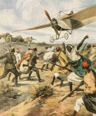 Ilustración de un ataque aéreo en la guerra italo turca (1911) en Libia.
