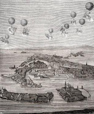 Grabado sobre el bombardeo de Venecia con globos en 1848.