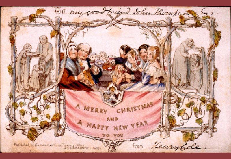 Primera postal de Navidad de Henry Cole. Museo Charles Dickens, Londres.