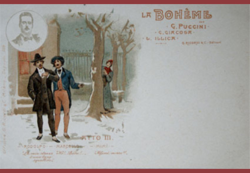 Postal comercial de La Boheme.