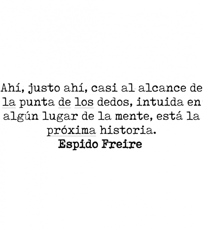 Ahí, justo ahí, casi al alcance de la punta de los dedos, intuida en algún lugar de la mente, está la próxima historia. Espido Freire