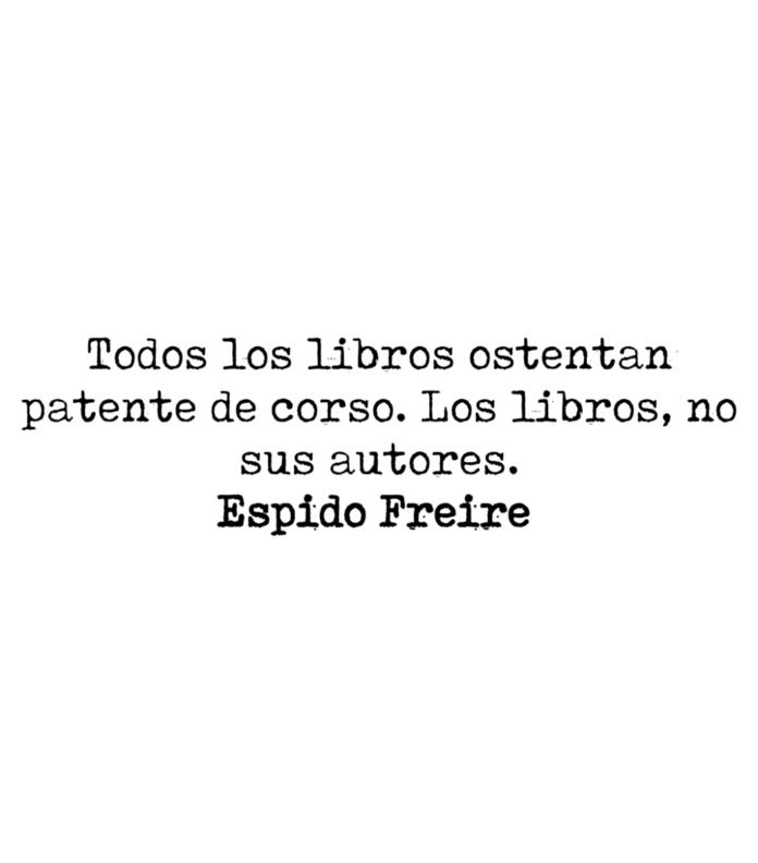 Todos los libros ostentan patente de corso. Los libros, no sus autores. Espido Freire.