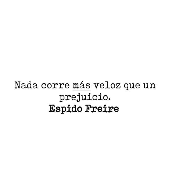 Nada corre más veloz que un prejuicio. Espido Freire.
