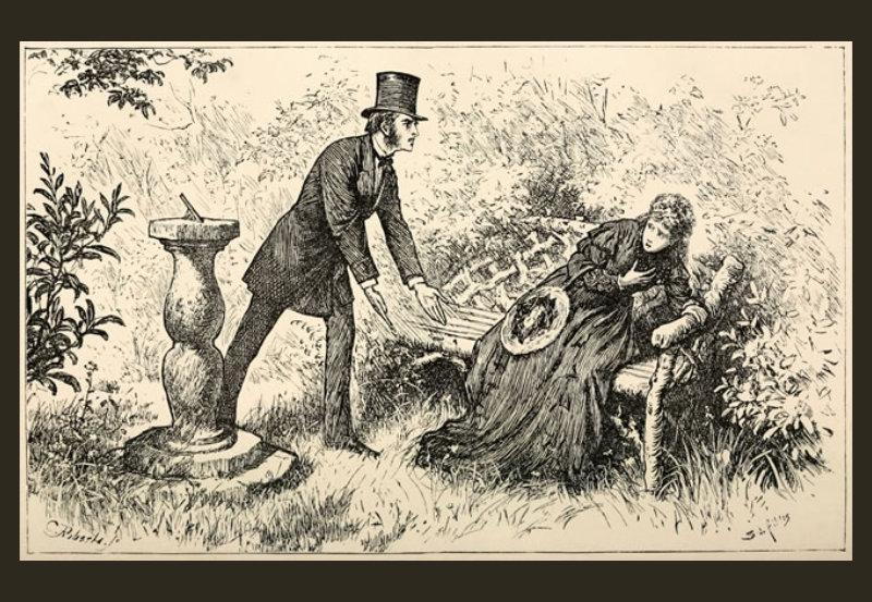 Jasper & Rosa Bud, ilustración de Luke Fildes para la primera publicación de la novela, 1870