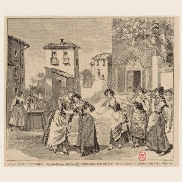 Cavalleria Rusticana. Ilustración de 1890. Estreno. Teatro Costanzi. Roma.