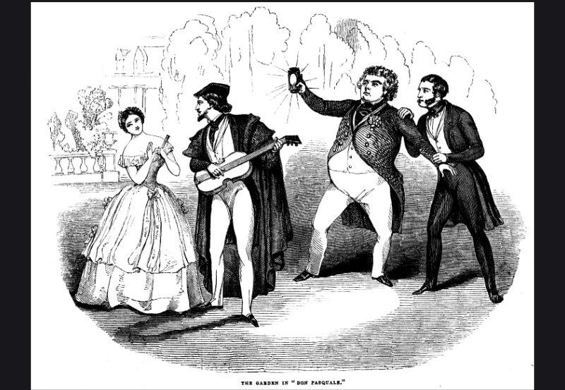 Don Pasquale, estreno en Londres (del Illustrated London News, 8 de julio de 1843).