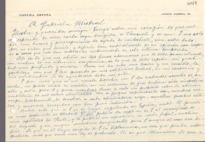 Carta de Concha Espina a Gabriela Mistral
