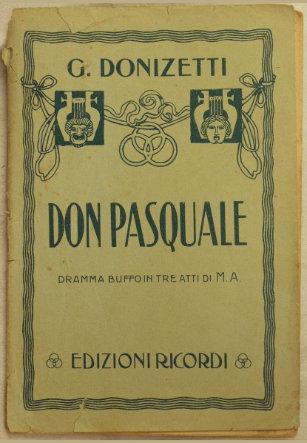 Partitura de Don Pasquale. Edición Ricordi.